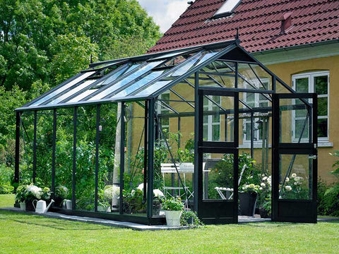 Juliana Premium Greenhouse 9ft x 14ft Anthracite 3mm safety glass with plants inside
