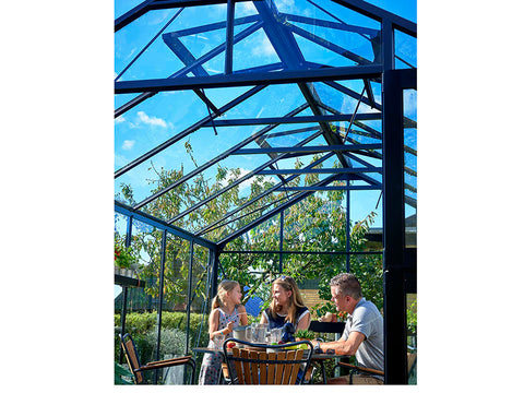 Image of Juliana Premium Greenhouse 9ft x 14ft Anthracite 3mm safety glass showing roof interior and three people inside