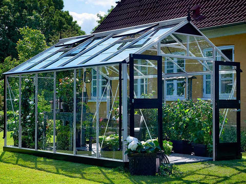 Juliana Premium Greenhouse 9ft x 14ft Aluminum 3mm Toughened Glass with plants inside