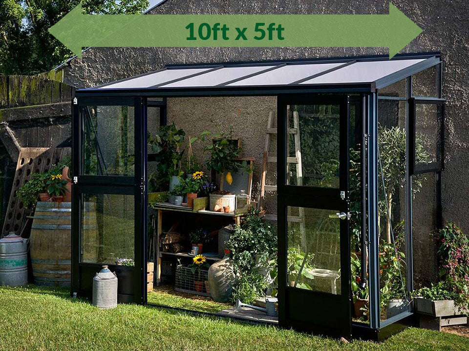 Juliana Veranda Lean-To Greenhouse 10ft x 5ft Anthracite/Black