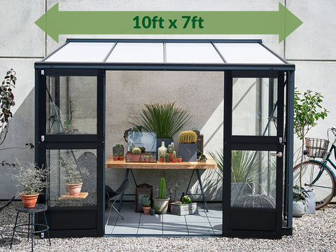 Image of Juliana Veranda Lean-To Greenhouse 10ft x 7ft Anthracite/Black