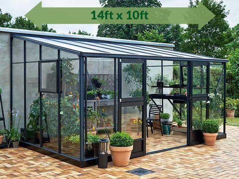 Juliana Veranda Lean-To Greenhouse 14ft x 10ft Anthracite/Black