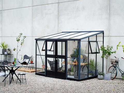 Juliana Veranda Greenhouse 10ft x 7ft anthracite. Front and Side View with open windows