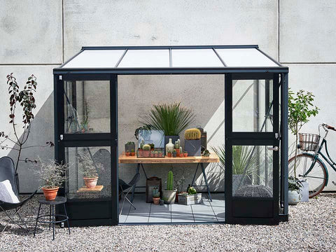 Image of Juliana Veranda Greenhouse 10ft x 7ft anthracite. Front View