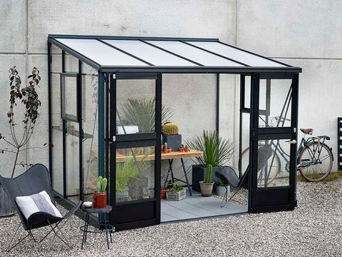 Juliana Veranda Greenhouse 10ft x 7ft anthracite. Front and Side View with open doors