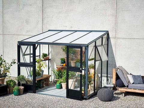 Image of Juliana Veranda Greenhouse 10ft x 7ft anthracite. Front and Side View with open doors and windows