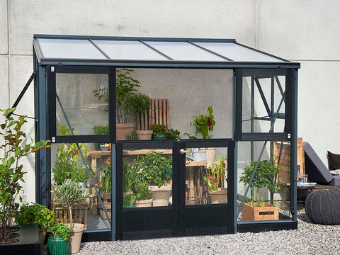 Juliana Veranda Greenhouse 10ft x 7ft anthracite. Front and Side View with upper doors open
