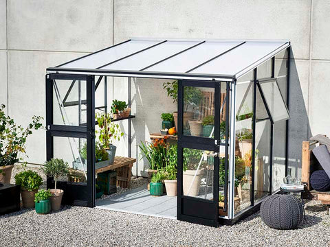 Image of Juliana Veranda Greenhouse 10ft x 7ft. Aluminum. Open Doors and windows
