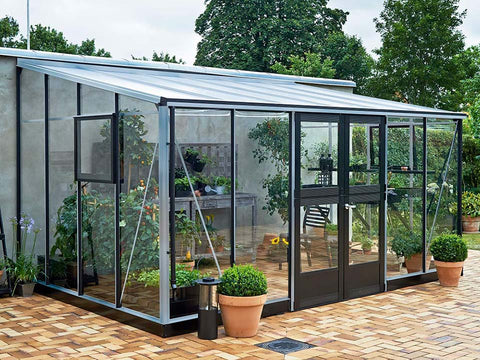 Image of Juliana Veranda Greenhouse 14ft x 10ft aluminum. Closed door