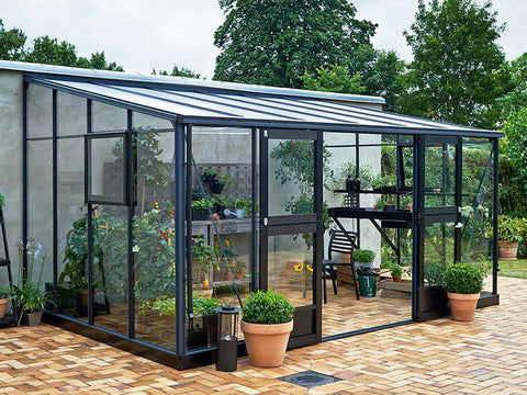Image of Juliana Veranda Greenhouse 14ft x 10ft anthracite Open doors