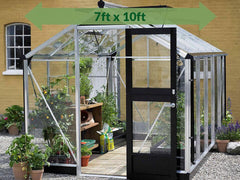 Juliana Compact Greenhouse 7ft x 10ft in Aluminum/Black