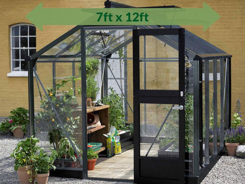 Black Juliana Compact greenhouse with an arrow indicating the size: 7ft 4in x 12ft 1in