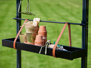 Small Juliana Hanging Shelf with Leather Straps with pots