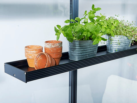 One end of the Juliana Narrow Top Shelves with plants and pots