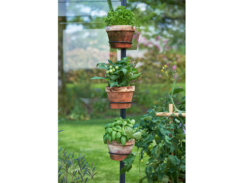 Three Juliana Greenhouse Plant Pot & Tool Holders with plant pots, installed in a greenhouse
