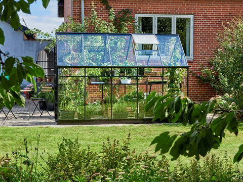 "Side view of the Juliana ""The Qube"" Greenhouse 7ft x 11ft"