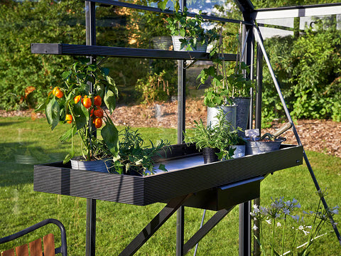 Image of Side view of the Juliana Seed Tray Shelf with Drawer in a greenhouse
