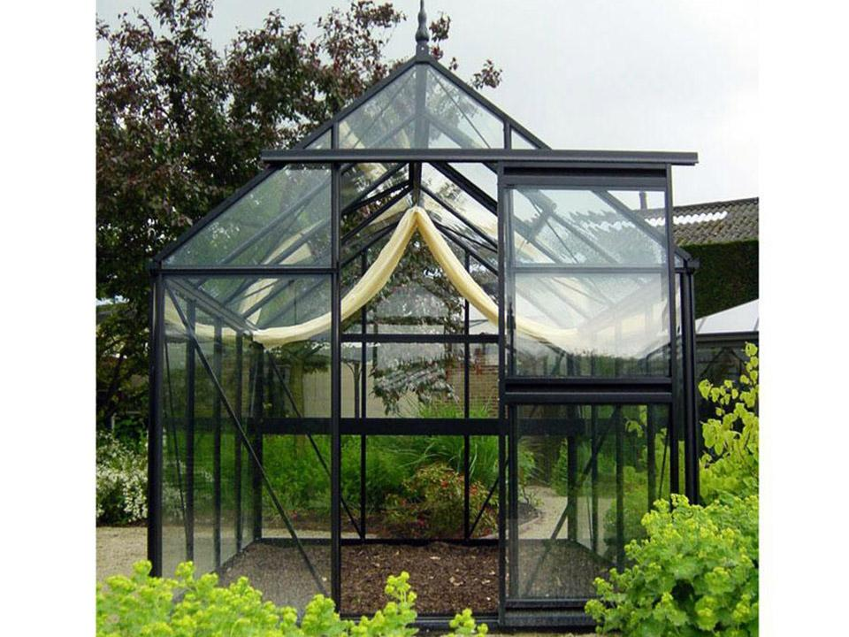 Janssens Junior Victorian J-VIC 24 Greenhouse 8ft X 13ft - front view - in a garden