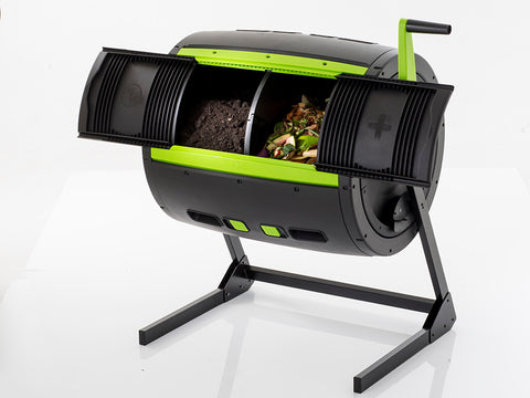 Image of Open MAZE Compost Tumbler with compost inside