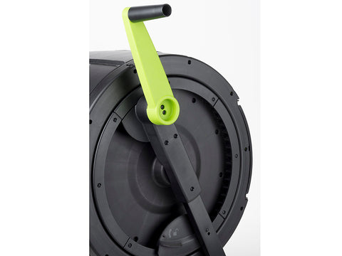 Image of Ratchet handle and side view of the MAZE Compost Tumbler