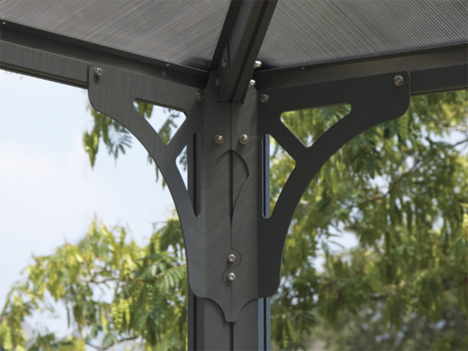 Martinique Hard Top Gazebo with channels and clips for curtains