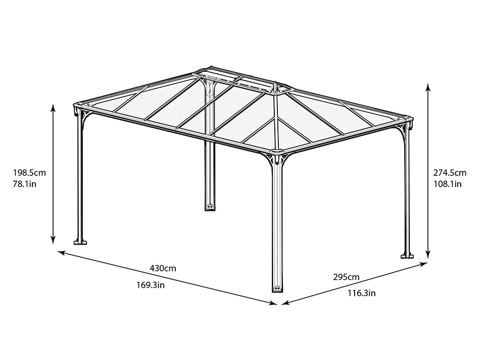 Full view of Martinique Hard Top Gazebo with dimensions - white background