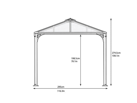 Image of Side view of Martinique Hard Top Gazebo with dimensions - white background