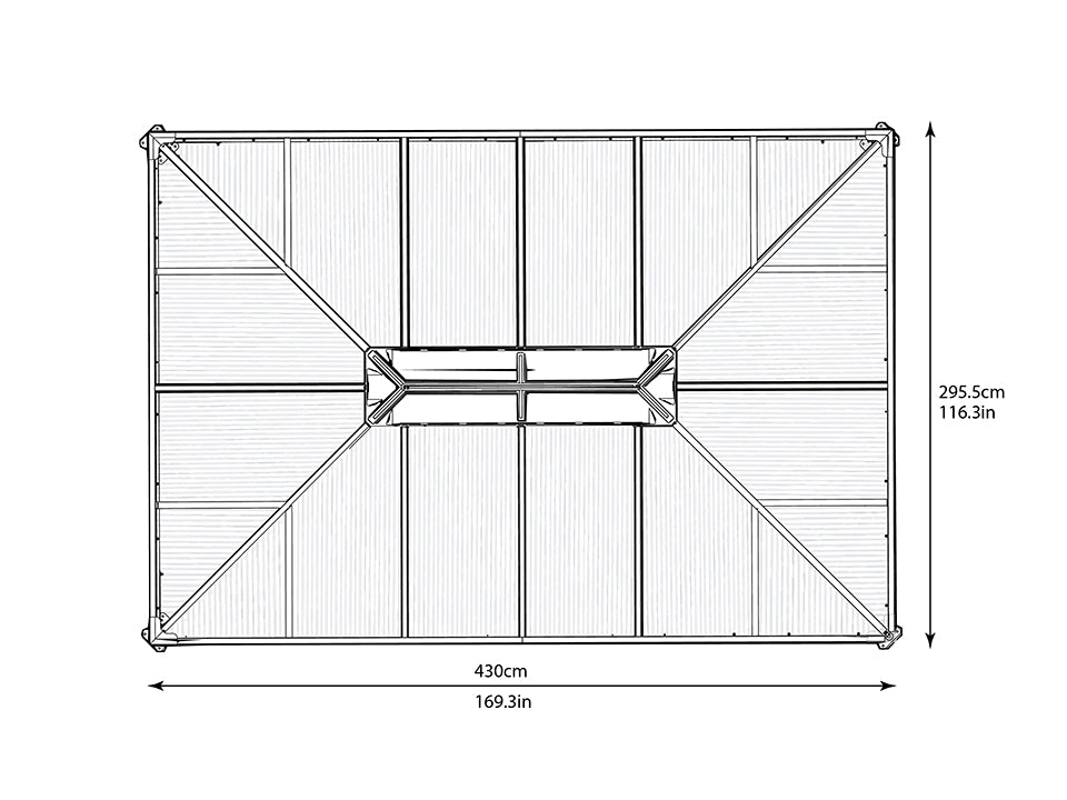 Top view of Martinique Hard Top Gazebo with dimensions - white background