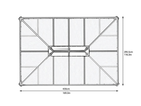 Image of Top view of Martinique Hard Top Gazebo with dimensions - white background