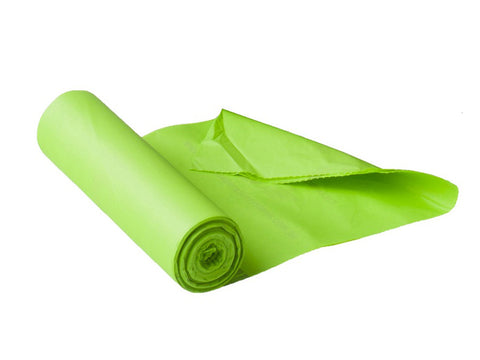 Roll of Green Corn Bags for Kitchen Caddie in white background