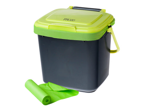 Image of Maze Kitchen Caddie Compost Bin 1.85 gal with corn bags on white background