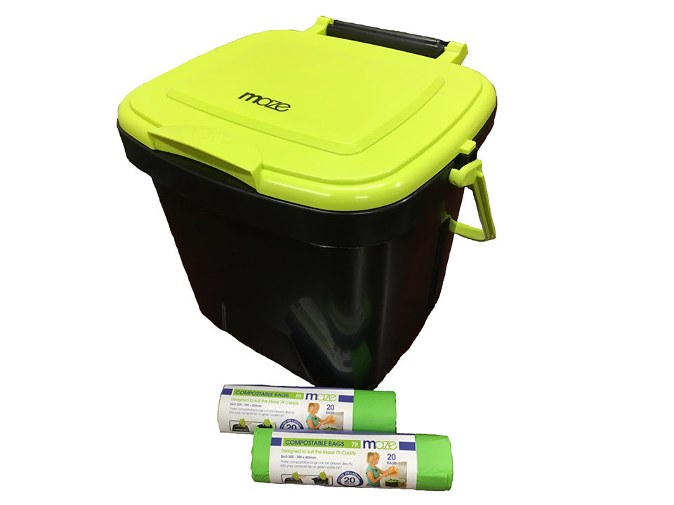 Maze Kitchen Caddie Compost Bin 1.85 gal with 2x rolls of corn bags (20 bags) on white background