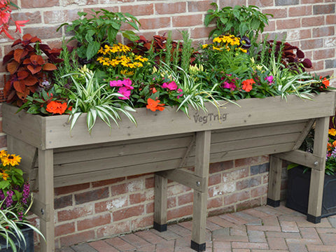 Medium Grey VegTrug Wall Hugger Planter Dimensions with plants