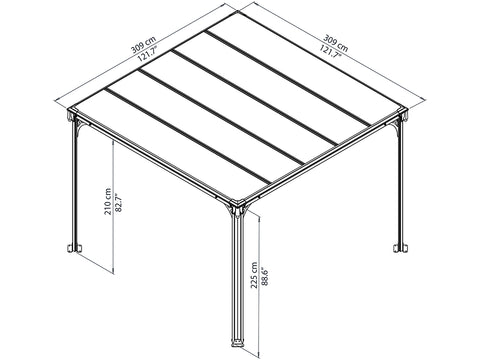 Full view of Milano 3000 10ft x 10ft Hard Top Gazebo framework showing dimensions