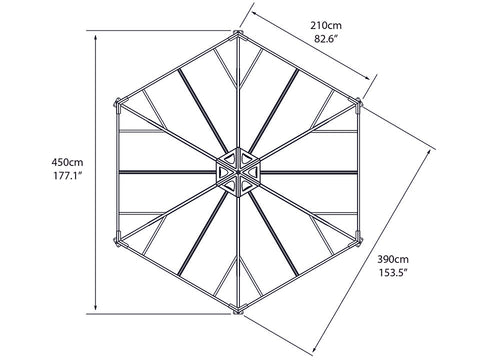 Image of Top view of Monaco Hexagonal Gazebo framework with dimensions - white background