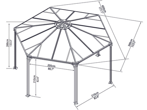 Image of Full view of Monaco Hexagonal Gazebo framework with dimensions - white background