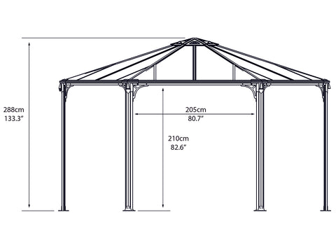 Image of Side view of Monaco Hexagonal Gazebo framework with dimensions - white background