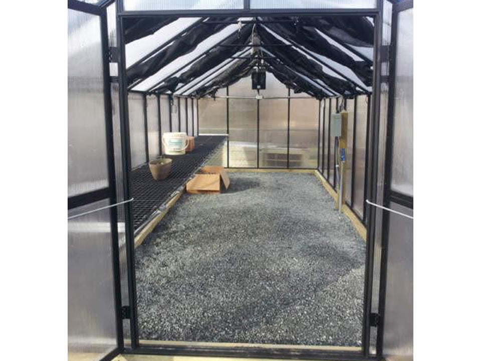 Installed Monticelllo Internal Shade Cloth on a bare greenhouse