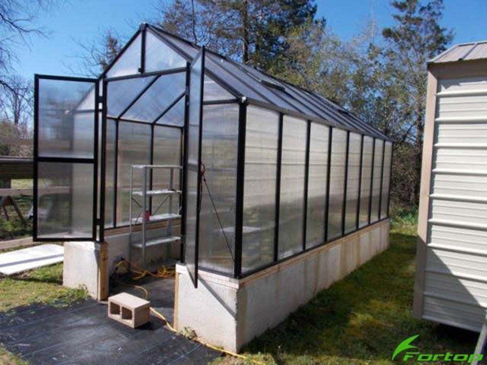 Bare Riverstone Monticello Greenhouse 8x20 - open doors