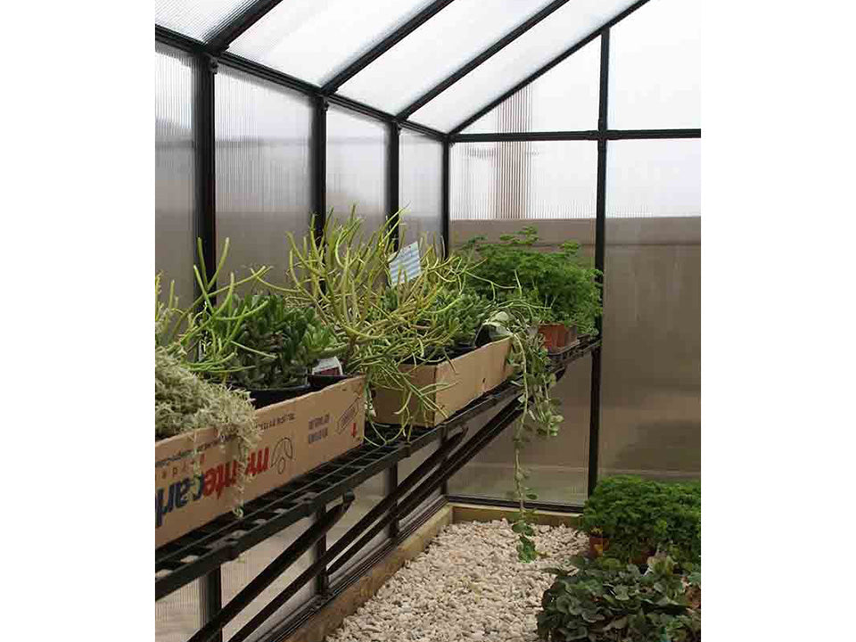 Riverstone Monticello Greenhouse 8x16 - Premium Package - interior side view with plants