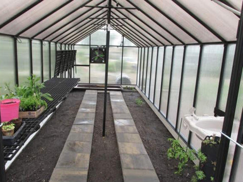 Image of Installed Monticello Greenhouse Sink System inside a greenhouse