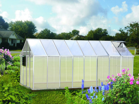 Side view of Monticello Growers Edition Greenhouse with open roof vent