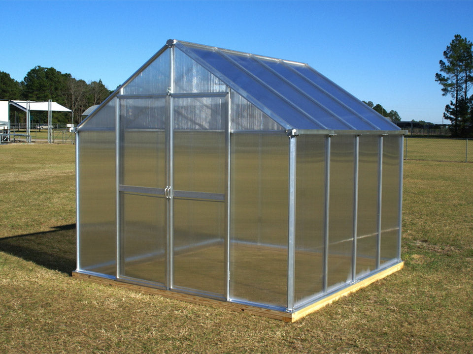 Bare Monticello 8x8 - Life Cycle Package installed in an open ground showing its front and right side