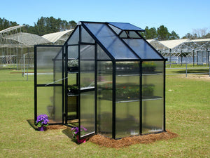 Side view of the Riverstone Monticello Patio Greenhouse 8x4