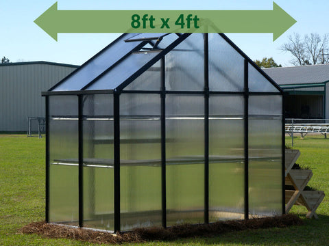 Riverstone Monticello Patio Greenhouse with a green arrow showing the size of 8ft x 4ft