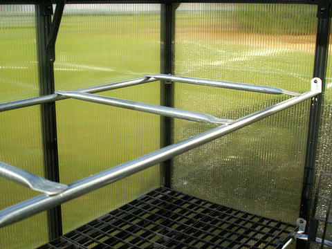 Metal frame of the shelf inside the Riverstone Monticello Patio Greenhouse 8x4
