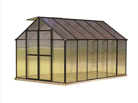 Image of Riverstone Monticello Greenhouse 8x12 with black frame and white background