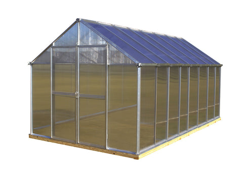 Image of Riverstone Monticello Greenhouse 8x16 in silver with white background
