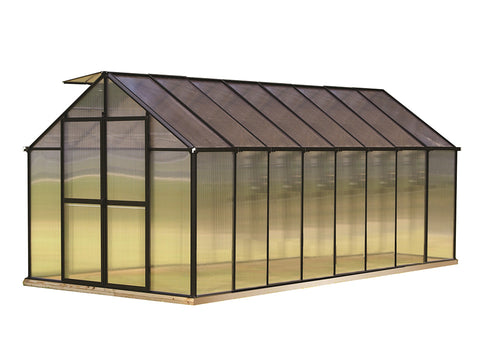 Image of Riverstone Monticello Greenhouse 8x16 in black with white background
