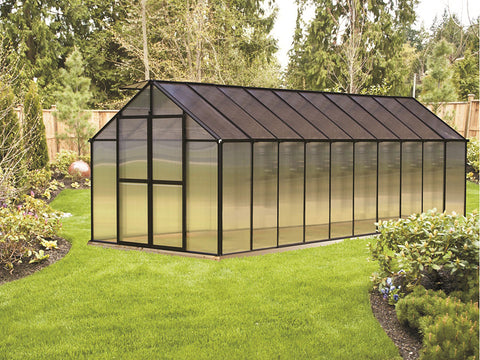 Riverstone Monticello Greenhouse 8x20 - Premium Package with black frame